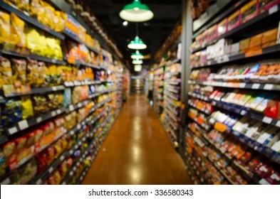 supermarket blur background.Product on shelf.