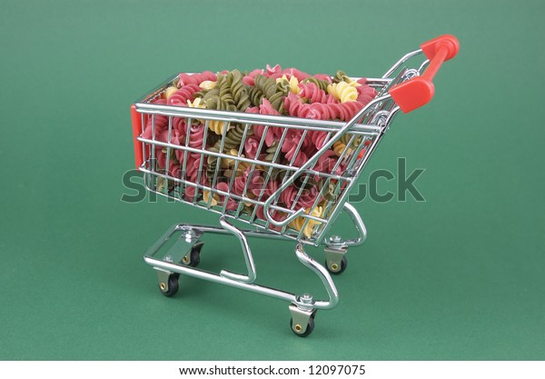 supermarket cart and food