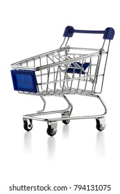 Supermarket cart isolated on white background with clipping path
