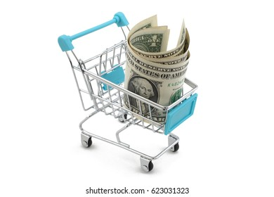 supermarket cart with money on a white background