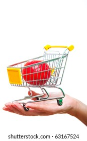 Supermarket cart on hand.