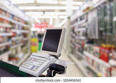 supermarket checkout cash desk counter with payment terminal