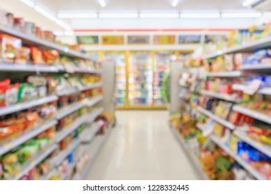 Supermarket convenience store aisle shelves interior blur for background