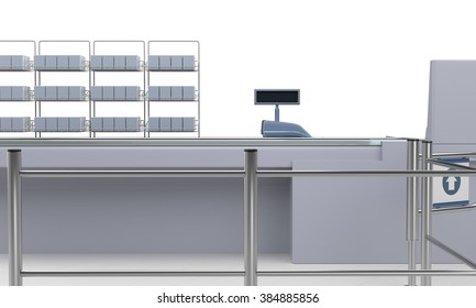 supermarket counter with barrier