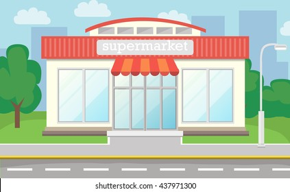 Supermarket Facade With Large Windows Vector Background