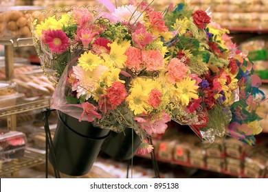 A supermarket flower display