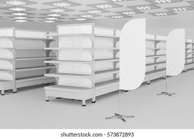 Supermarket interior with empty shelves and advertising banner flags. 3d render