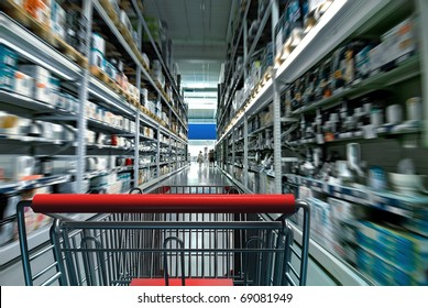 Supermarket interior with shopping chart