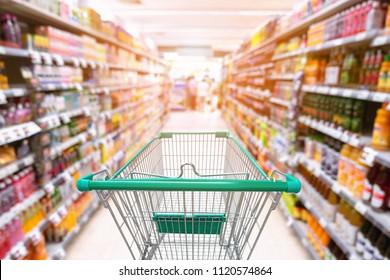 Supermarket interior and storage shelf., Shopping concept.