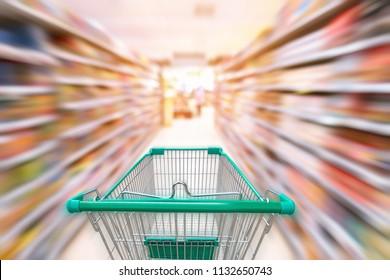 Supermarket interior and storage shelf, Shopping concept.