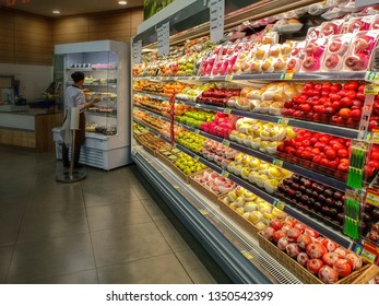 Supermarket in Jakarta Indonesia. Supermarket is a self-service shop offering a wide variety of food, beverages and household products, organized into sections and shelves. 16 02 2019