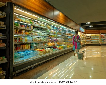 Supermarket in Jakarta Indonesia. Supermarket is a self-service shop offering a wide variety of food, beverages and household products, organized into sections and shelves. 07 09 2019