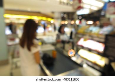 Supermarket, modern retail store, blur abstract background