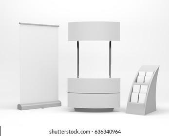 Supermarket portable event stand or kiosk. 3D rendering