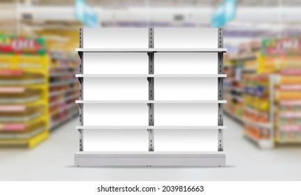Supermarket Product Display Gondola 3D Illustration