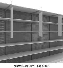 Supermarket shelf banner - 3D render