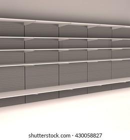 Supermarket shelves - 3D render