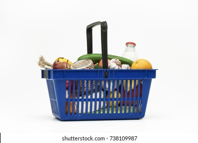 Supermarket shopping baskets filled with groceries on white background - 3
