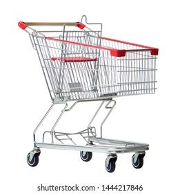 supermarket shopping cart isolated on white background