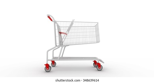 supermarket shopping cart on white background