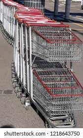 supermarket shopping carts queued
