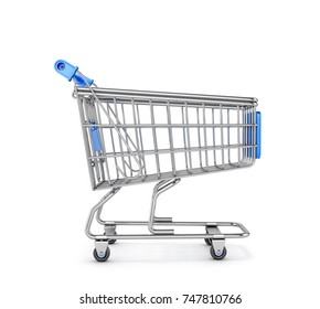Supermarket Trolley on a white background. 3D illustration