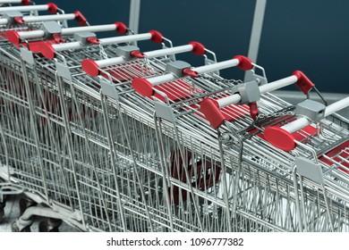 supermarket trolleys. cart.