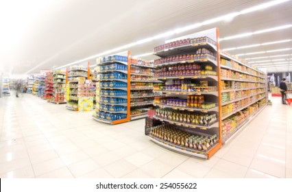 Supermarkets, lens blur effect.