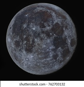 The Supermoon, full moon captured with a telescope. Very detailed high resolution and in true color.