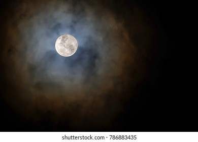 SuperMoon glowing with cloud