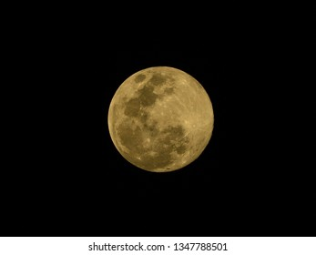 Supermoon on 20 March 2019 with the blank area to insert text.