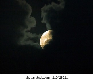 Supermoon on August 10th 2014, partly hidden behind clouds.