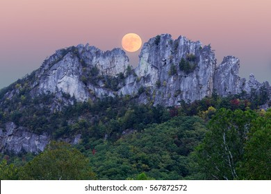 Supermoon over Seneca Rocks in West Virginia