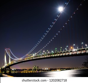 Supermoon Over the Verrazano Bridge