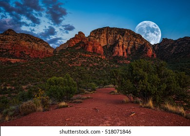 Supermoon rising over Sedona, Arizona