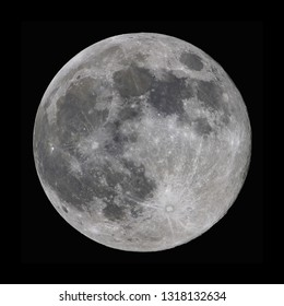 SuperMoon taken with a professional telescope during it's full phase in february 2019., when the distance was only 357.000 km. CLIPPING PATH INCLUDED so you can paste it wherever you like!