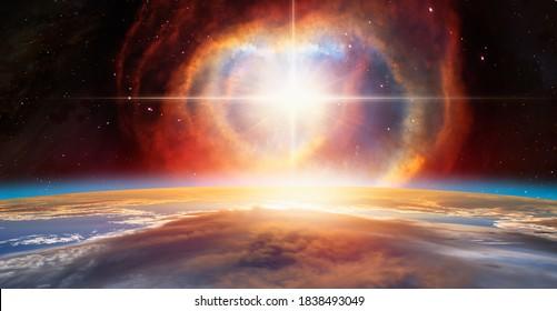 """Supernova Explosion im Zentrum der Galaxie """"Elemente dieses von der NASA gelieferten Bildes"""""""