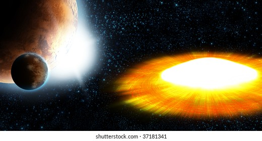 Supernova star, planet explosion, abstract background