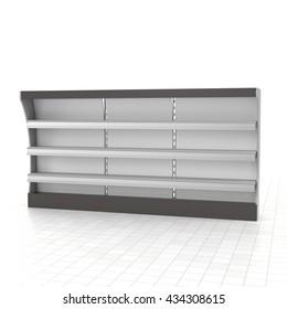 superrmarket shelf. 3D rendering