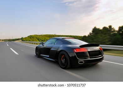 Supersport Black Audi R8 race car on the road. Turkey, Istanbul June 2017