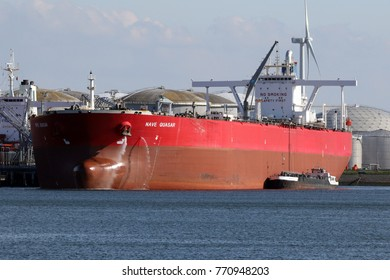 Supertanker Nave Quasar will be in Rotterdam harbor on April 28, 2016.