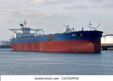 The supertanker Nisalah is in the tanker port of Rotterdam on July 13, 2018 and unloaded.