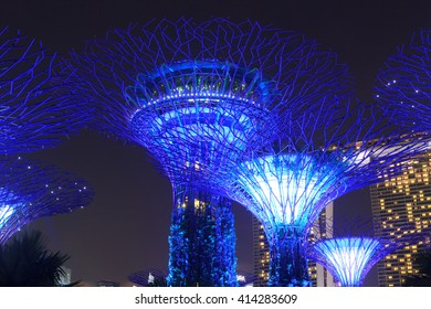 Supertree grove and Marina Bay Sands at night in Gardens by the Bay, Singapore