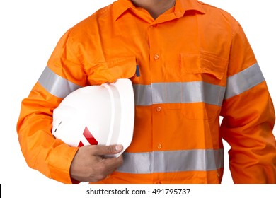 Supervisor with construction hard hat and high visibility shirt on a white background. Men with reflective high visibility orange work wear shirt for highly visible in work environment.