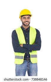 Supervisor male engineer wearing a protective vest and safety hard hat. Isolated on white background.