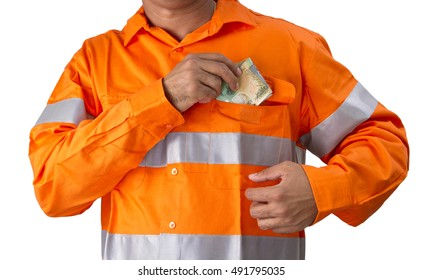 Supervisor or work man with high visibility shirt  holding and counting Australian dollars on a white background. Trade job worker or out door employees earning money for job.