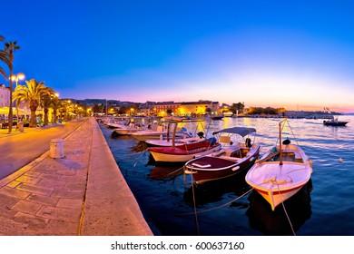 Supetar waterfront evening panoramic view, island of Brac, Dalmatia, Croatia