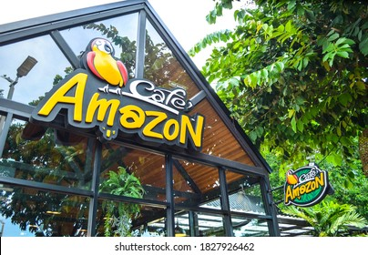 Suphabburi, Thailand - august 13, 2020. Cafe Amazon logo sign.Cafe Amazon is Thai frachise coffee in Thailand, located in PTT gas station