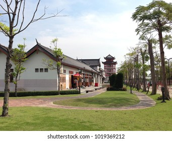 Suphan Buri Province, Thailand - January 13, 2018 : Chinese Pagoda - Picture of The Celestial Dragon Village.