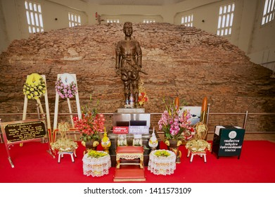 Suphan Buri, Thailand - August 19, 2011: Statue of King Naresuan the Great in the Don Chedi monument and museum in Suphan Buri, Thailand.